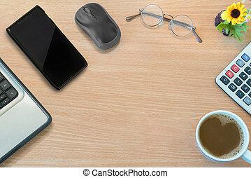 conceito, flor, escritório, modernos, rato, metáfora, calculadora, topo, smartphone, relaxamento, apartamento, negócio, espaço, óculos, configuração, fundo, escrivaninha, cópia, café, madeira, copo, ou, tabela, vista