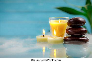 conceito, flor, vela, relaxamento, spa, pedra, bambu