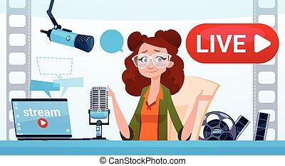 conceito, fluxo, blogger, subscrever, mulher, vídeo, online, blogging