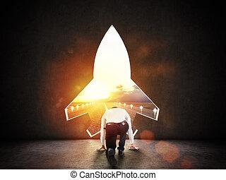 conceito, foguete, parede, startup, partida, alludes, forma, direção, metas, novo, buraco