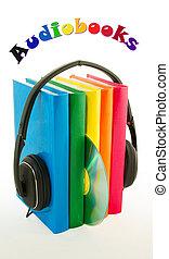 conceito, fones, -, livros, audiobooks, fila