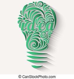 conceito, forma, luz, idéias, vórtice, verde, bulb.