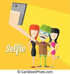 conceito, foto, levando, telefone, selfie, esperto