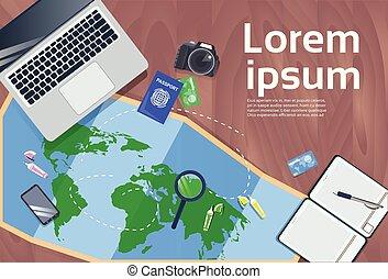 conceito, foto, viagem, férias, mapa, desktop, planificação, passaporte, laptop, câmera, vista superior