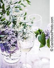 conceito, -, francês, jantar, vinho, branca, winery, multa, celebração