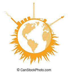 conceito, fumaça, globo global, refinaria, vetorial, fundo, ...