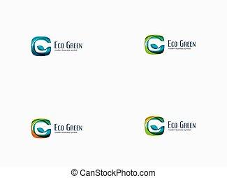 conceito, g, eco, companhia, modernos, verde, logotipo, letra