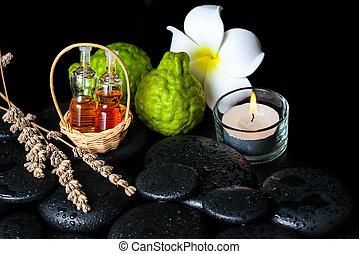 conceito, garrafas, óleo, aromático, bergamota, frutas, spa, essencial