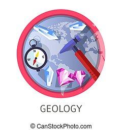 conceito, geologia, themed, indústria, disciplina, logotipo