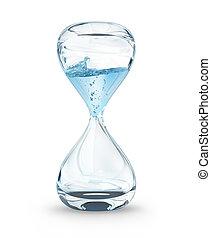 conceito, goteje água, tempo, close-up, ampulheta