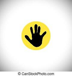 conceito, gráfico, silueta, -, mão, vetorial, criança, ícone, ou, criança