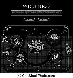 conceito, gráfico, wellness, desenho, vetorial, pretas, linha branca