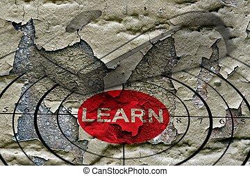 conceito, grunge, alvo, aprender