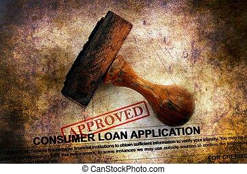 conceito, grunge, empréstimo, -, aplicação, aprovado