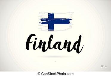 conceito, grunge, país, bandeira finland, desenho, logotipo, ícone