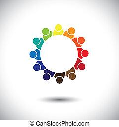 conceito, grupo, coloridos, estudantes, abstratos, -, vetorial, círculo