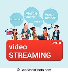 conceito, grupo, fluxo, pessoas, blogger, subscrever, vídeo, online, blogging