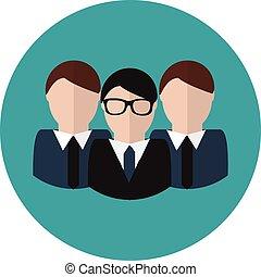conceito, grupo, negócio, team., vetorial, icon., líder
