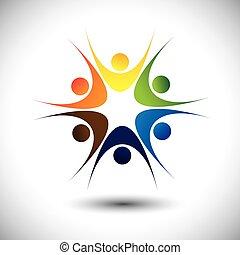conceito, grupo, pessoas, comunidade, vivamente, fim, feliz