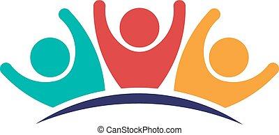 conceito, grupo, pessoas, grande, três, trabalho equipe, ...