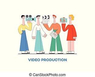 conceito, grupo, pessoas, marketing, producao, mulher, vídeo, câmera., homem