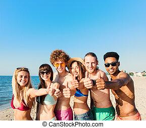 conceito, grupo, praia., verão, divertimento, amigos, tendo