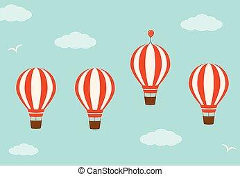 conceito, grupo, vantagem, negócio, sky., ar, quentes, balões