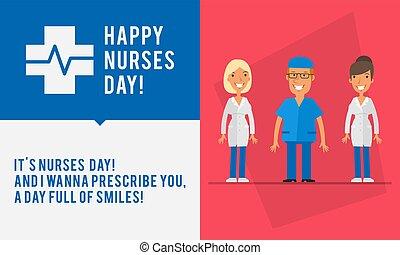 conceito, grupo, womans, enfermeiras, pessoas, dois homens, enfermeira, dia