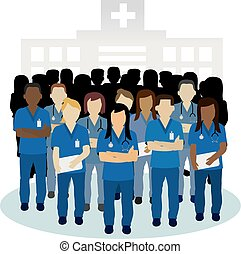 conceito, grupo, zangado, vetorial, enfermeira, ou, irritada