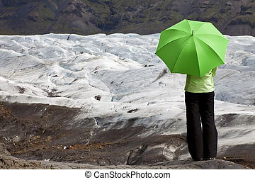 conceito, guarda-chuva, geleira, ambiental, mulher, verde