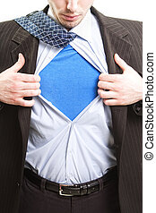 conceito, herói, negócio, -, homem negócios, super, super-...