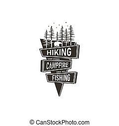 conceito, hiking, acampamento, adesivo, fishing., desenho,...