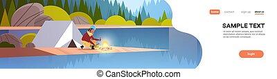conceito, hiking, cheio, menina, paisagem, acampamento, espaço, lenha, floresta, segurando, barraca, montanhas, mulher, natureza, fogo, fundo, horizontais, cópia, acampamento, hiker, comprimento, africano, fazer, rio, fogueria