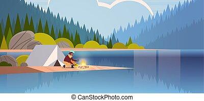 conceito, hiking, cheio, menina, paisagem, acampamento, lenha, comprimento, floresta, segurando, barraca, montanhas, mulher, natureza, fogo, fundo, horizontais, acampamento, hiker, americano, africano, fazer, rio, fogueria