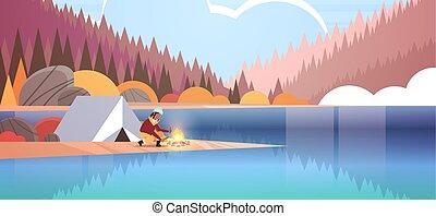 conceito, hiking, outono, menina, paisagem, acampamento, lenha, floresta, segurando, barraca, montanhas, mulher, natureza, fogo, fundo, horizontais, acampamento, hiker, americano, africano, fazer, rio, fogueria