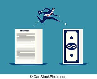 conceito, homem negócios, perda, pular, profit., vetorial, illustration., negócio