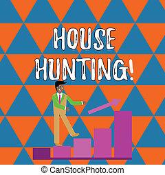 conceito, hunting., casa, procurar, aluguel, sorrindo, cima., escrita, olhar, ir, texto, compra, coloridos, mapa, significado, escalando, barzinhos, seta, ato, seguindo, homem negócios, letra, ou