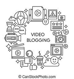 conceito, illustration., cartaz, web., apoplexia, vetorial, vídeo, magra, modelo, linha, blogging, esboço