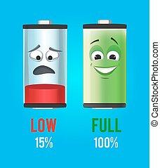 conceito, illustration., cheio, charge., baterias, vetorial, desenho, baixo, caráteres, mascote