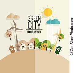 conceito, illustration., eco, árvore, experiência., vetorial, ecologia, friendly.