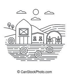 conceito, illustration., fazenda, campos, vetorial, magra, modelo, logotipo, linha, agricultura