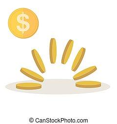 conceito, illustration., ouro, dinheiro, moedas, -, movimento, vetorial, montão