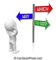 conceito, illustration/, setas, -, três, fazendo, signpost, problema, 3d