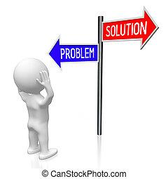 conceito, illustration/, -, solução, encruzilhadas, fazendo, problema, 3d