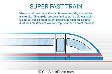 conceito, illustration., trem, modernos, trilho, alto, vetorial, velocidade