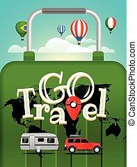 conceito, illustration., viagem, férias, vetorial, viajar