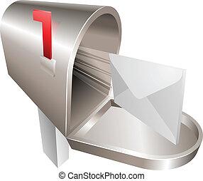 conceito, ilustração, caixa postal