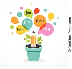 conceito, ilustração, criatividade, -, idéia, educação, cartaz, crescendo, ciência