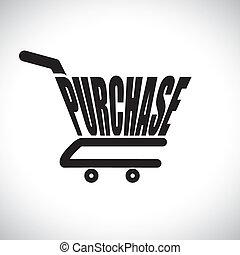 conceito, ilustração, de, carro shopping, com, a, palavra,...