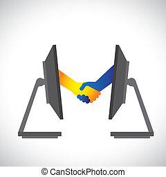 conceito, ilustração, de, internet, negócios, sociedades, negócio, etc., mostrado, por, aperto mão, entre, duas pessoas, de, dentro, dois, computer(pc), monitors.